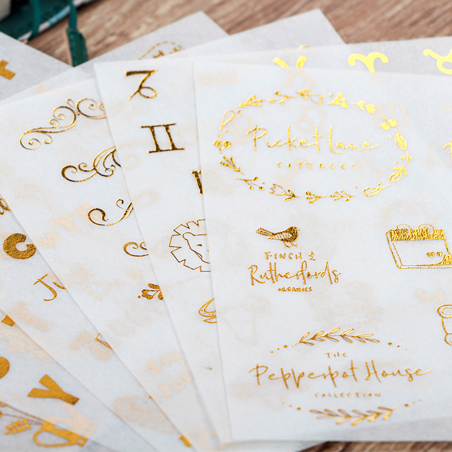 6pcs/pack Gold Stamping Stationery Stickers DIY Album Diary Planner Scrapbook Stickers Bullet Journal Sticker School Supplies