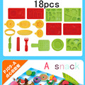 HEY play doh 18pcs set color clay mold tool functional Food picnic tools toys Christmas birthday toy playdough