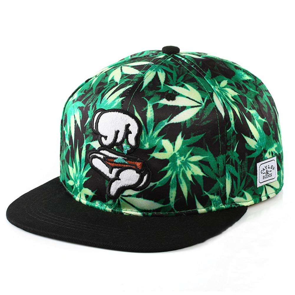 Rollo de Hierba marihuana Sombrero Kush snackback Cap hoja cannabis ... c082082e725