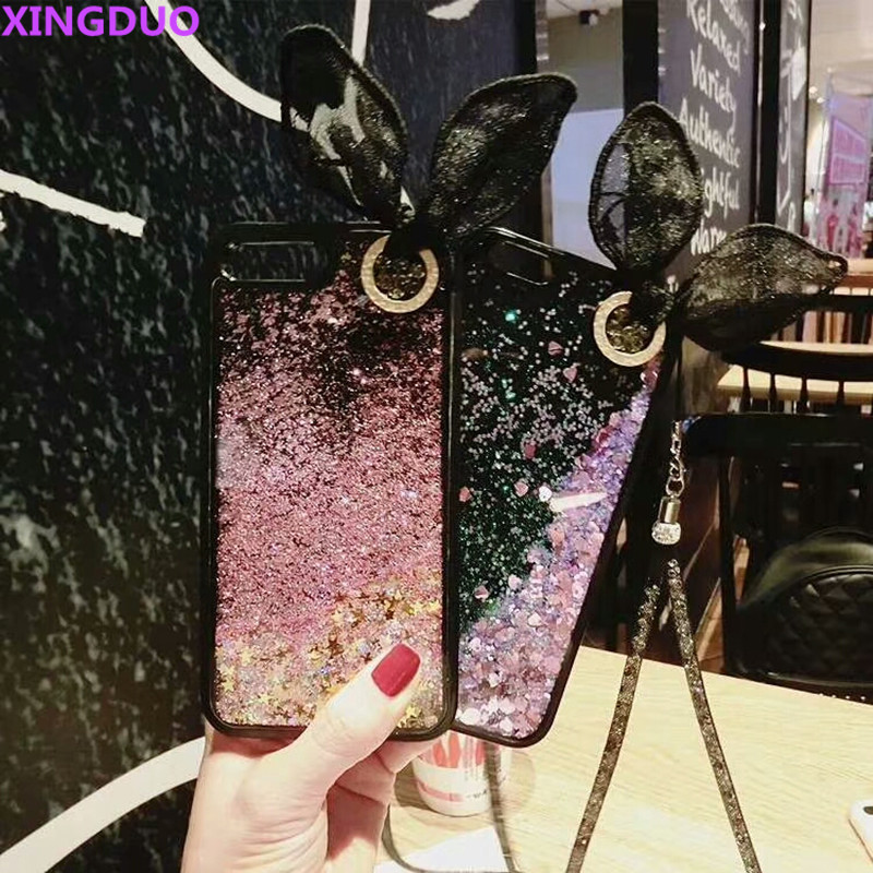 Loyal Xingduo For Iphone 6 6s 7 8 Plus Dynamic Liquid Glitter Sand Soft Tpu Case Cute Standing Ears Hanging Rope For X Xs Max Xr Shell Profit Small Half-wrapped Case
