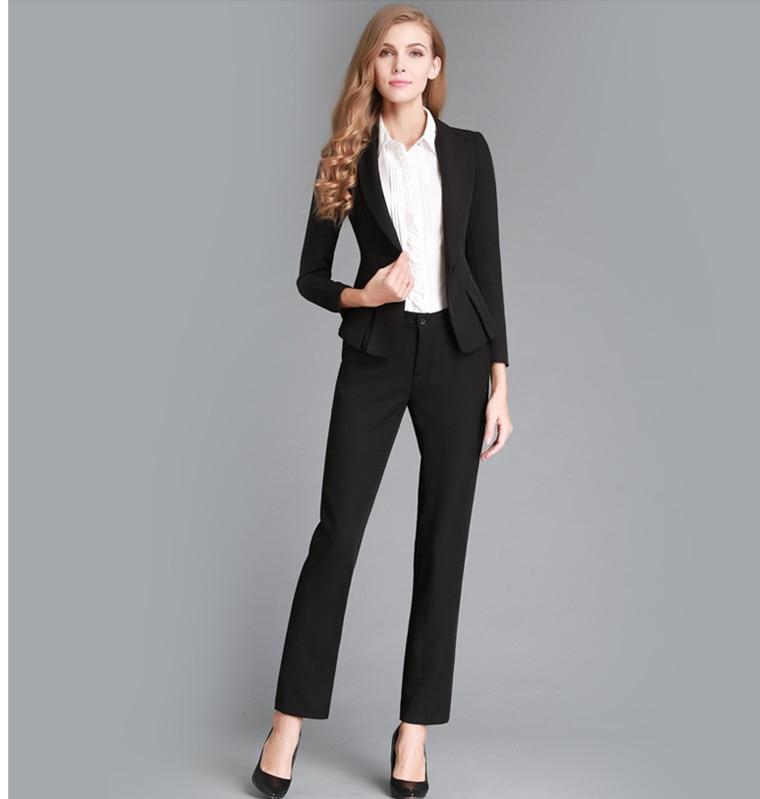48a8629506f9 Nuevo 2016 Otoño Invierno moda mujer trajes por encargo negro Tops Sets  femenina elegante traje en Trajes de pantalón de La ropa de las mujeres en  ...