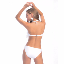 Summer Women Sexy Lace Cover Up Swimwear White Bikini Lace Bandeau Swimsuit  Push Up Crochet Bathing Suit Beach Wears