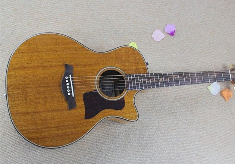 2019 nouveauté personnalisé 41 ''cutaway intégré pick-up Koa dos et côté 6 cordes guitare électrique acoustique