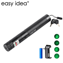 EASYIDEA 5mW Laser Pointer High Power 532nm 303 Green Laser Pointer Pen Adjustable Burning Match With Rechargeable 18650 Battery(China)