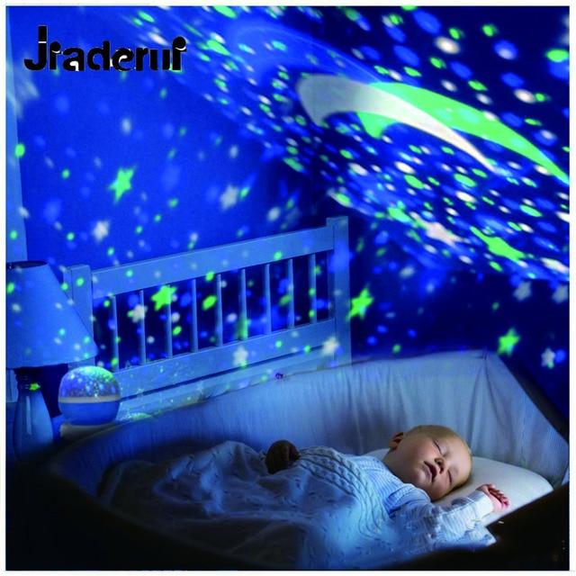 Jiaderui Novelty LED Rotating Star Projector Lighting Moon Sky Rotation Baby Nursery Night Light Battery Operated Emergency Lamp