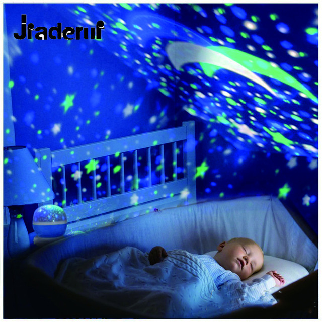Jiaderui Novelty LED Rotating Starry Sky Projector Lamps Sky Rotation Colorful Flashing Starry Sky Projector Kids Christmas Gift