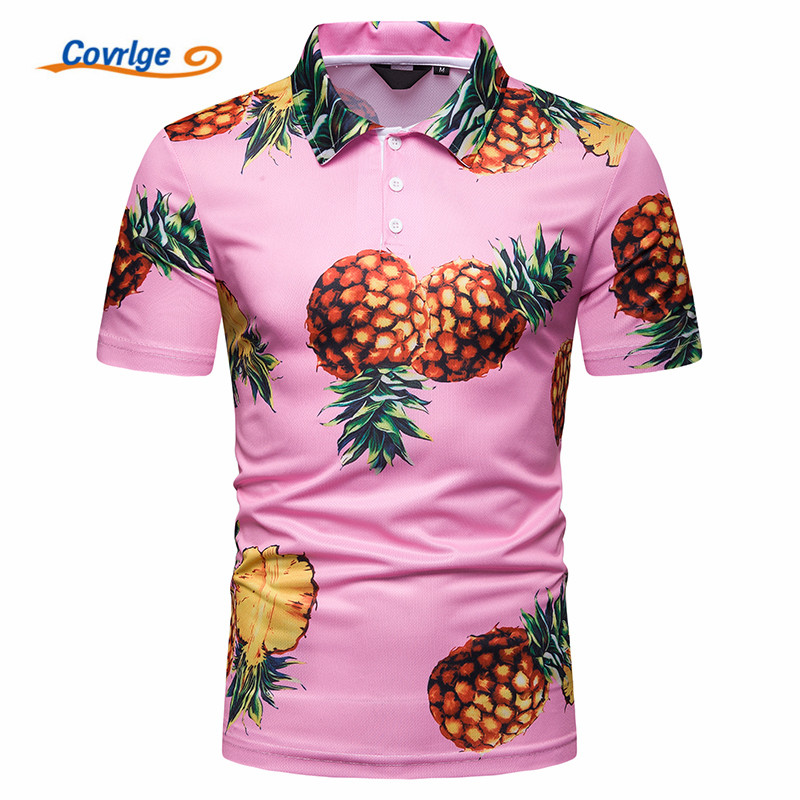 Covrlge Men Printing Hawaii Fresh and Interesting   Polo   Shirt Para Hombre Brand Casual Short Sleeve Homme Camisa Shirt MTP113