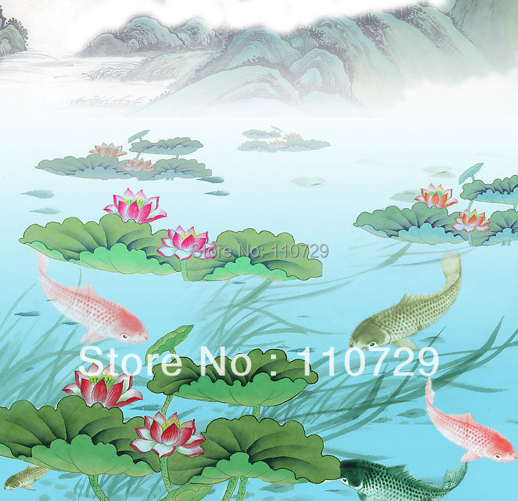 Hand-painted  lotus flower, peppermint& fish silk wallpaper wall cover ronnefeldt teavelope peppermint