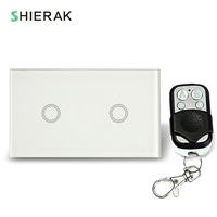 SHIERAK Remote Control Wall Light Touch Switch US Standard 2 Gang White Black Gold Crystal Glass