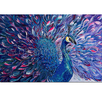 Top Supplier Wholesale High Quality Abstract Pride Purple Peacock Oil Painting On Canvas Handmade Abstract Peacock