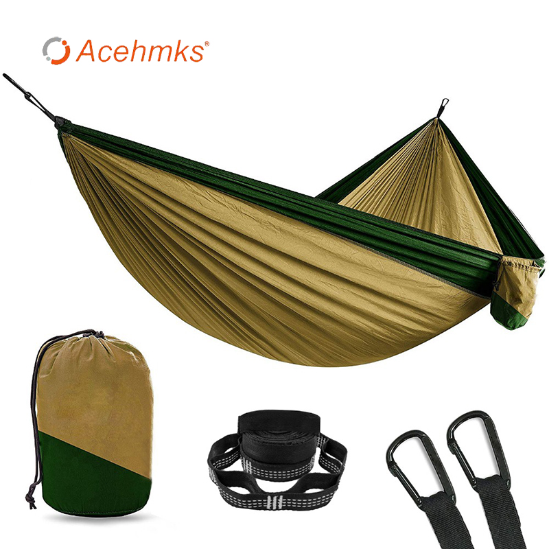 Black Snap Camping Hammock Adults Two-person Outdoor Furniture Nylon Ultralight Portable Folding Hammock Size 305x200 Cm 10 Feet