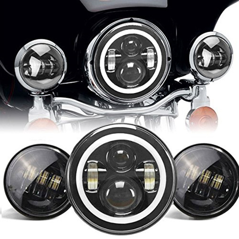 7 Daymaker White Angel Eyes DRL Halo Projector Headlight + 4.5 inch Passing Light For Motorcycle Harley Touring цена