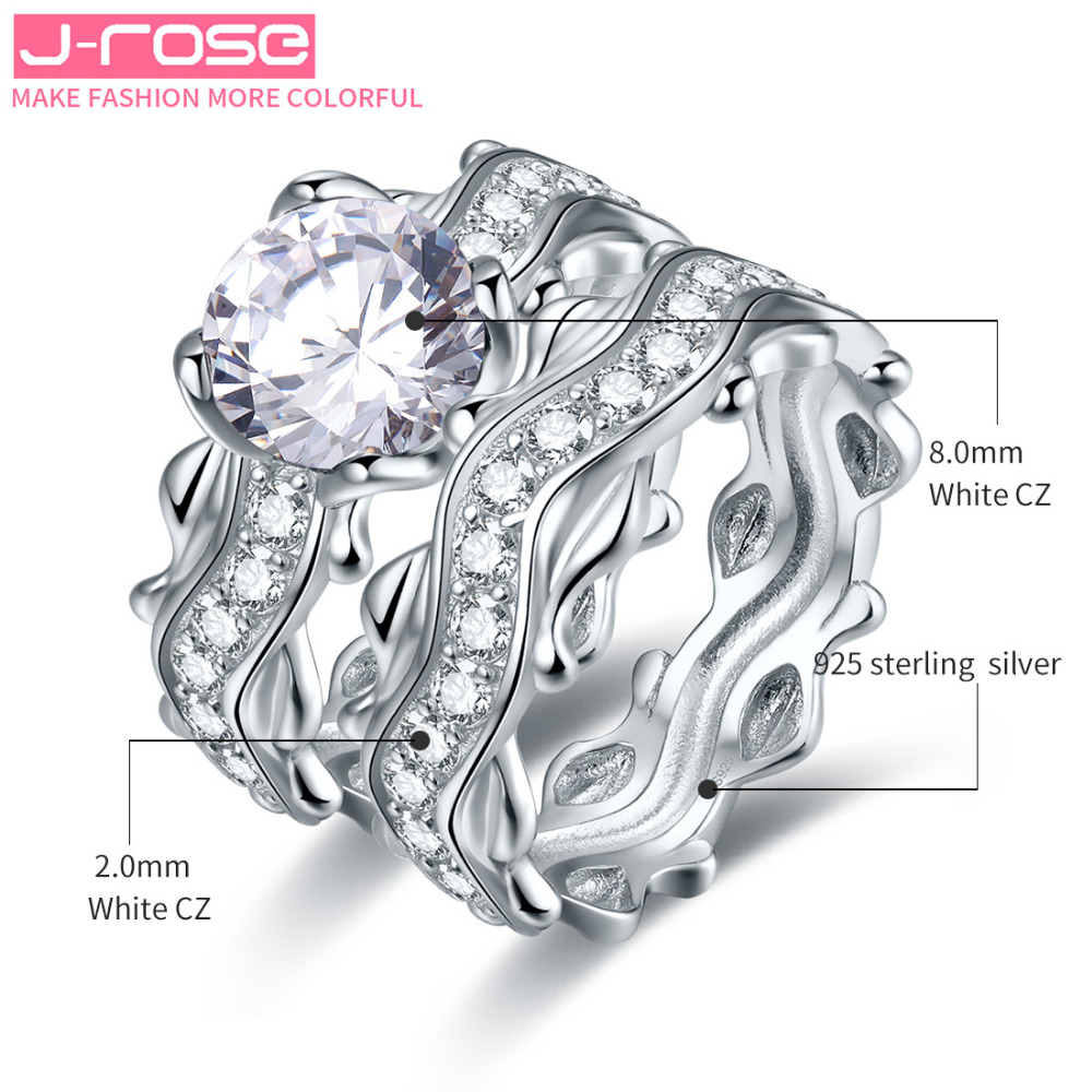 Jrose Free Jewelry Box Classic EuropeanEngagem Wedding Rings White ...