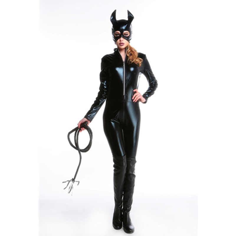 501dac38467 ... Mask Whip Sexy Latex PVC Wetlook Catsuit Jumpsuit Bodysuits Cat Women  Cosplay Costume Halloween Catwoman Cosplay L15337 ...