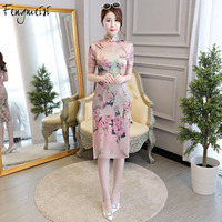 Fengmeisi Chinese Traditional Women Vintage Print Cheongsam Qipao Oriental Dresses Sexy Elegant Formal Evening Qi Pao