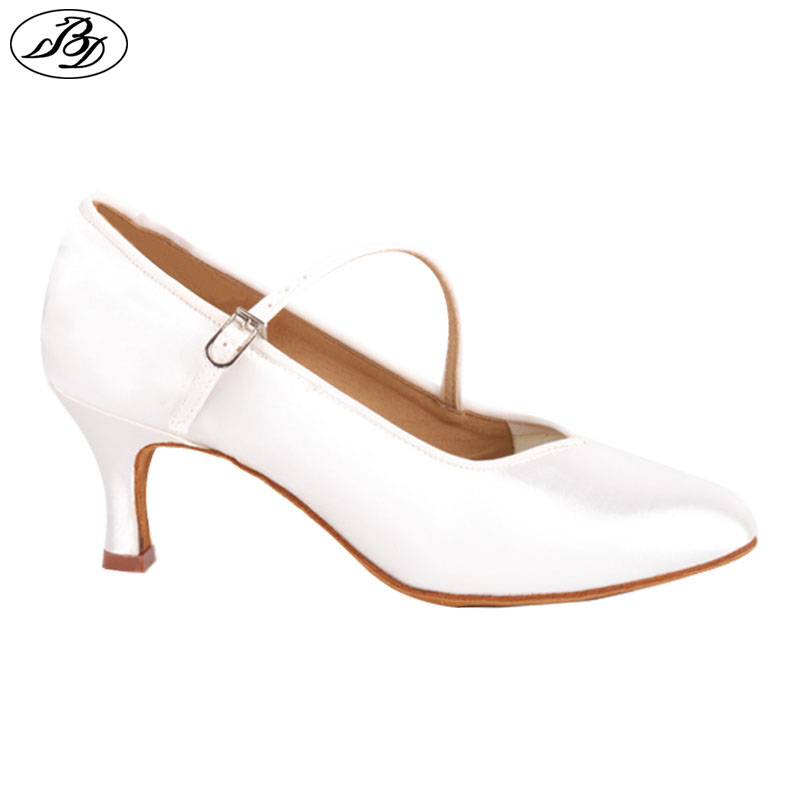 Women Standard Dance BD138 ClASSIC White Satin Ladies Ballroom Dancing Shoe Soft  Anti Slid Leather Outsole High Heel Profession