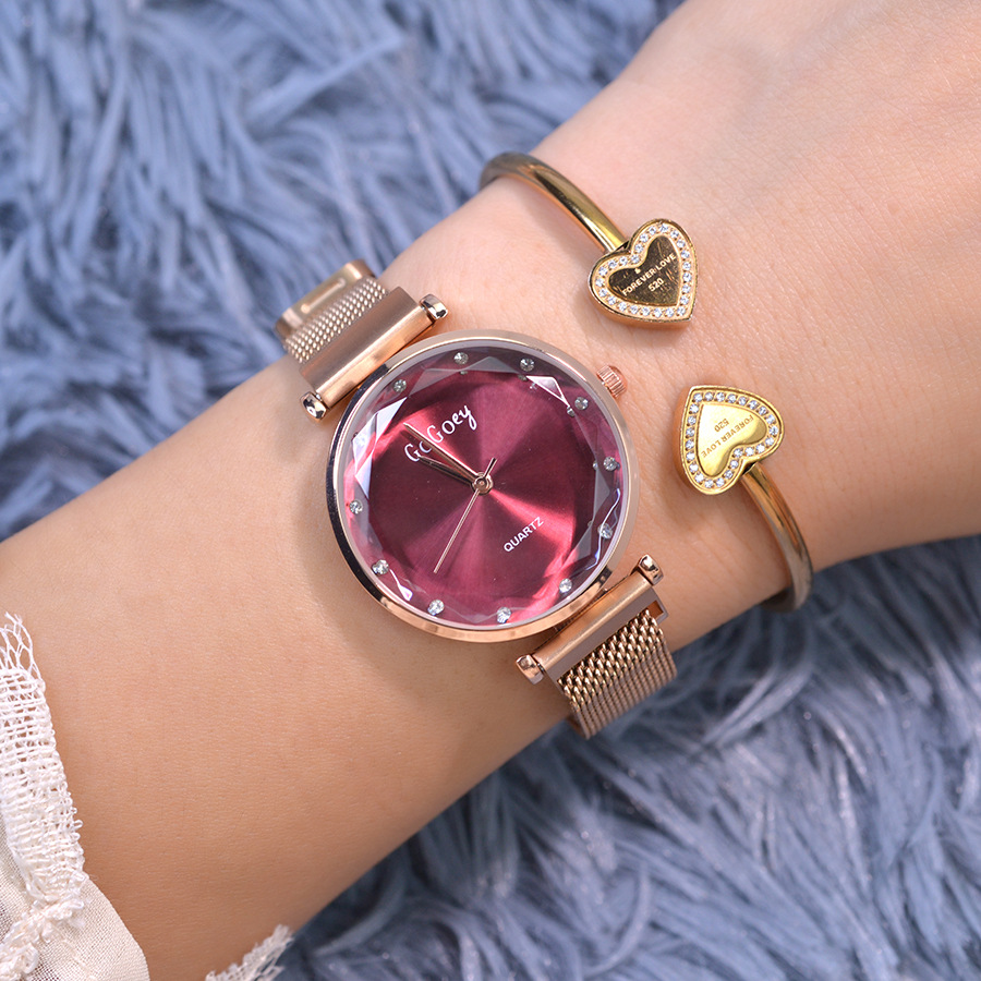 Luxury Women Watch Fashion Crystal Magnet Buckle Rose Gold Purple Ladies Wrist Watch 2019 Starry Sky Watch For relogio feminino