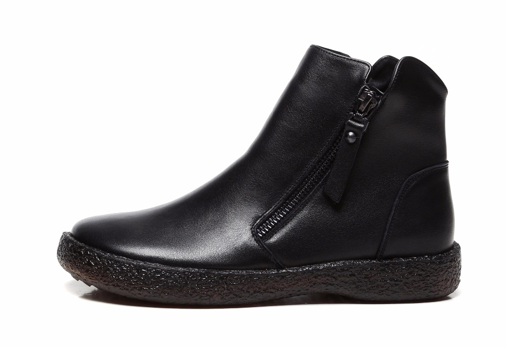 d863e09fe De Pés Boots 100Genuínos Moda Couro Feitos Sapatos Vintage Planas Mulheres  Dos Para Gktinoo Redondos Preto ...