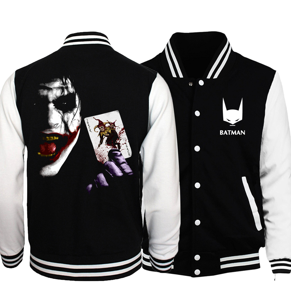 Superman Series Super 2 Joker Heath Ledger Figure Hip Hop Men Coat 2018 Spring The Flash/ Deadpool/ Skulls Printed Men Jackets