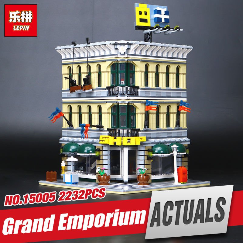 LEPIN 15005 2232Pcs Genuine City Grand Emporium Model Educational Building Kits Brick Funny Toy  Compatible With toys 10211 694pcs lepin 06018 building block action model kits brick educational toys compatible