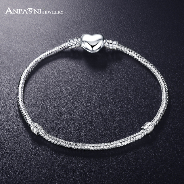 ANFASNI New Fashion Love Snake Chain Silver Color Fit Original Charm Bracelet Bangle Charm Bead For Women Gift 17CM-21CM 2