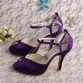 Wedopus Ladies Purple Dress Shoes Party Heels Shoes on The Platform Wedding Sandals