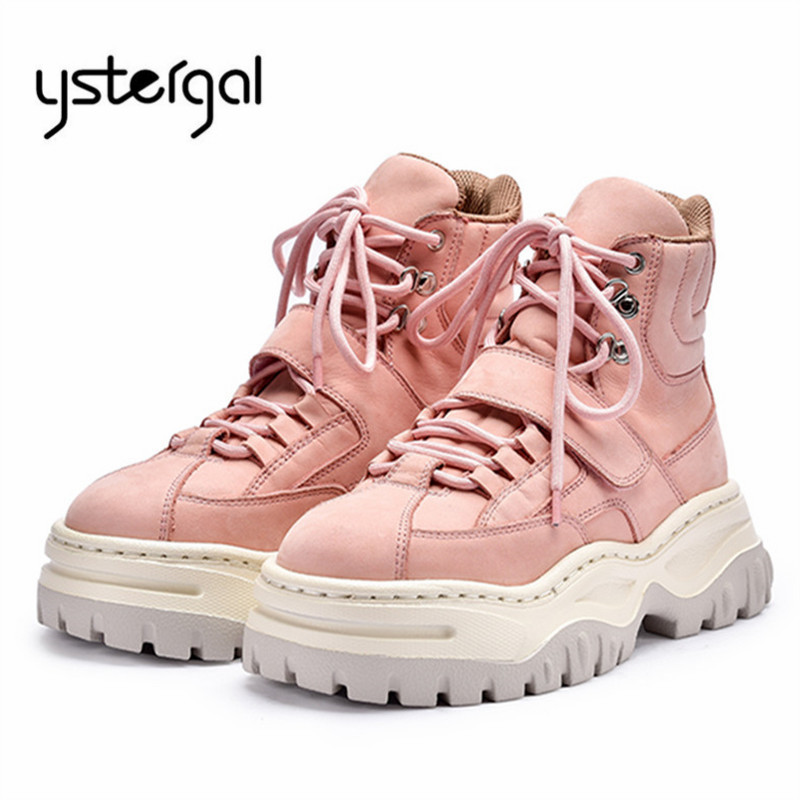 Ystergal Pink Ankle Boots for Women Lace Up Platform Creepers Riding Boots Flat Sneakers Rubber Shoes