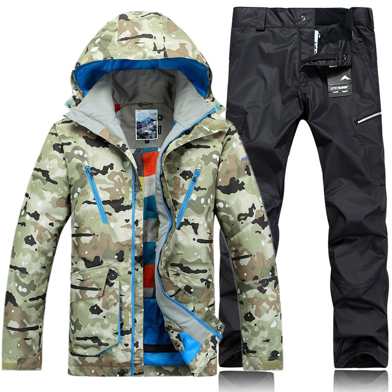 210fbbb801 GSOU SNOW Brand Ski Suit Men Ski Jackets Snowboard Pants Winter Skiing  Suits Snowboarding Clothes Waterproof Camo Sports Coats -in Skiing Jackets  from ...