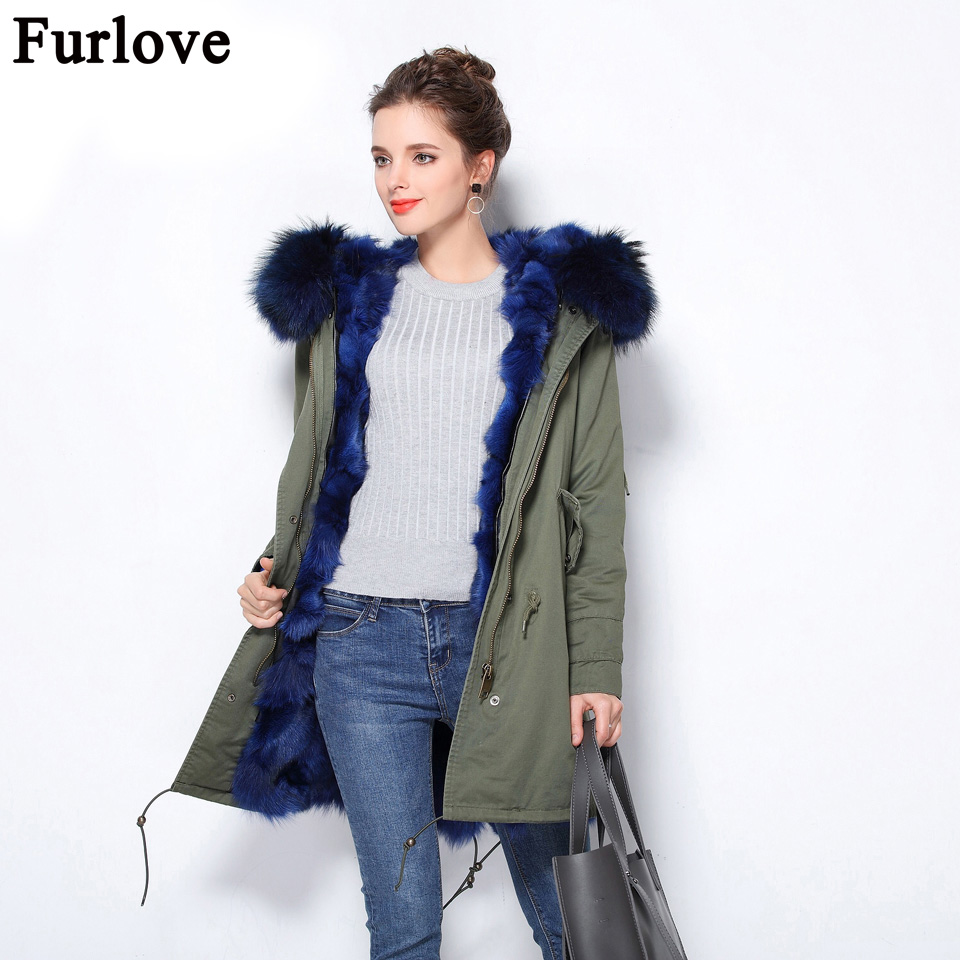 Furlove Women Winter Real Fox Fur Parka Female Ladies Jacket Removable Lining Coat Big Raccoon Collar