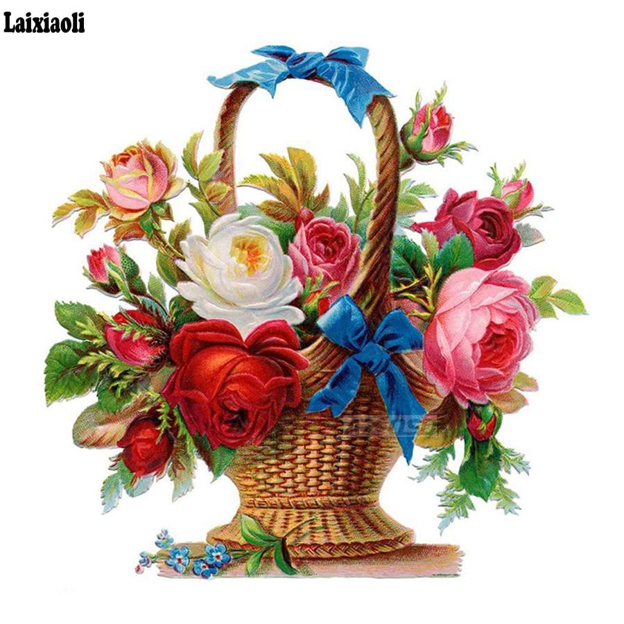 Full Square round drill Diamond Painting Kit Home Decor Beautiful Flowers Basket 3D Diamond Embroidery DIY Mosaic wall Painting