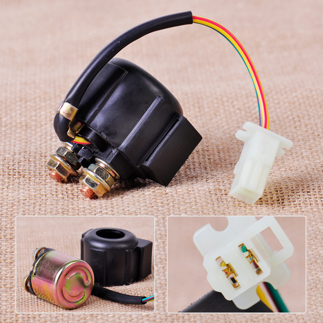 Citall 2 wire plug connection starter relay solenoid for yamaha yfm350 xv750 sr185 warrior honda