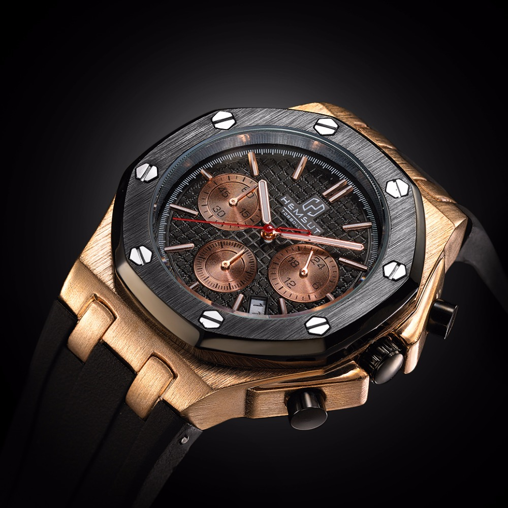 Brand New Men Watch Quartz Watch Gold Rubber Band 3ATM Water Resistant Chronograph Mens Quartz Wrist Watch
