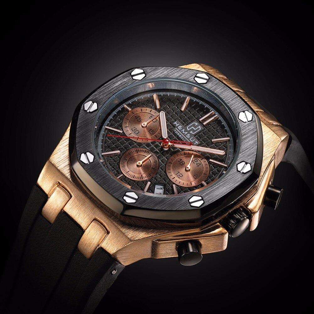 Marke Neue Männer Quarzuhr Gold Gummiband 3ATM Wasserdicht Chronograph Herren Quarz-armbanduhr