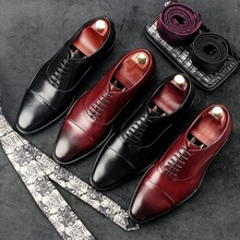 RUIMOSI Pointed Toe Man Formal Dress Shoes Medallion Genuine Leather Cow Male Oxfords Italian Designer Men's Bridal Flats EH88