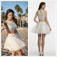 summer style 2015 Hot Selling High neck Lace 2 Piece Short Prom Dresses beaded vestido de festa mini dress evening Dress 2 piece 2 2015