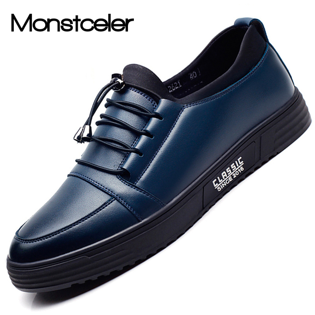 1255786f80c 2017 Autumn Winter Men s Leather Shoes All-match Slip On Flats Shoes  Breathable Soft Outsole Men Loafers Shoe Black Navy Red