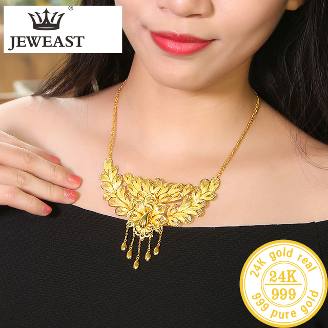 BTSS 24K Pure Gold Necklace Real AU 999 Solid Gold Chain Beautiful  Upscale Trendy Classic Party Fine Jewelry Hot Sell New 2020