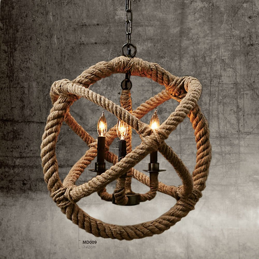 Vintage american industrial 3 lights hemp rope ball chandelier retro bulb not included 3 x e14 x 40w arubaitofo Image collections