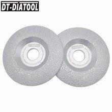 ФОТО dt-diatool 2pcs dia 115mm vacuum brazed diamond wheel grinding disc faster speed longer life 4.5 inch construction material