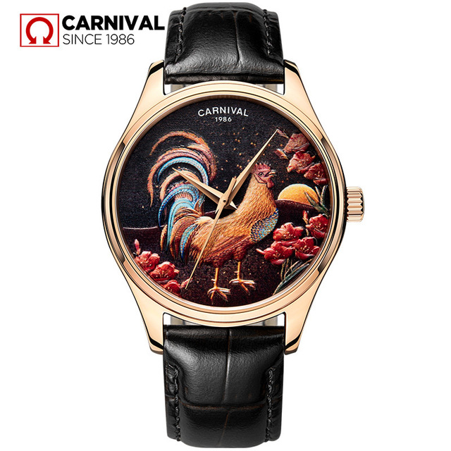 Carnival Men Fashion Europe Cock Dial Genuine Leather Watchband Waterproof Automatic Self-Wind Mechanical Watch carnival men fashion business hollow out dial steel watchband 3bar waterproof concept dial automatic self wind mechanical watch