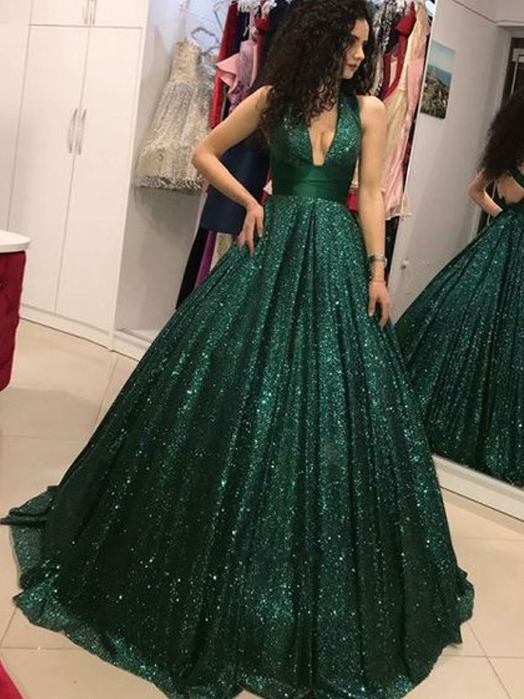 Emerald Green 2019   Prom     Dresses   V-Neck Glitter Sequin Ball Gown Backless Party Maxys Long   Prom   Gown Evening   Dress   Robe De Soiree