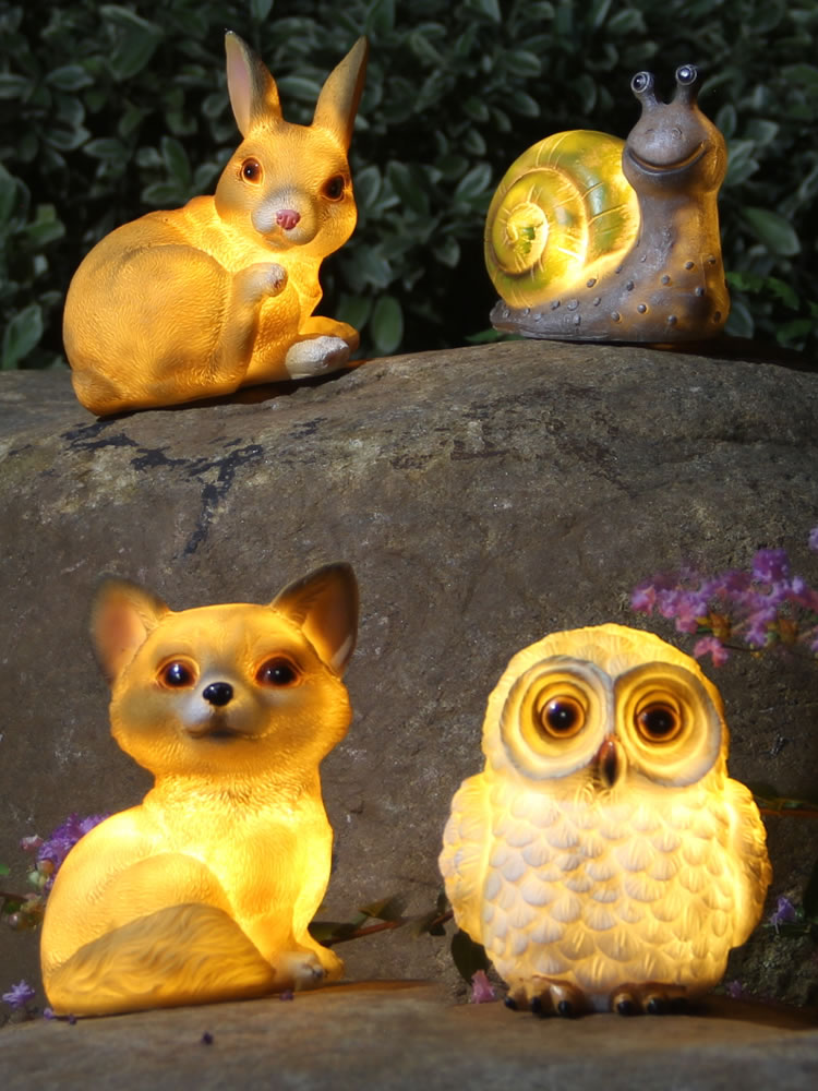 Simulation Resin Snail Rabbit Owl Solar Panel LED Light Landscape Garden Yard Path Lawn Solar Lamps Outdoor Grounding Sun Light