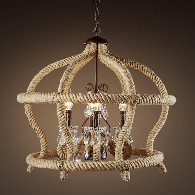 Decorative Lamp Vintage Hemp Rope Iron Chandeliers And Creative Personality Retro Dining Room ZH GY225