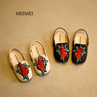2017 Summer Fashion Embroidery Toddler Baby Sandals Slides Floral Wrap Toe Little Kids Girls Sandals Lovely