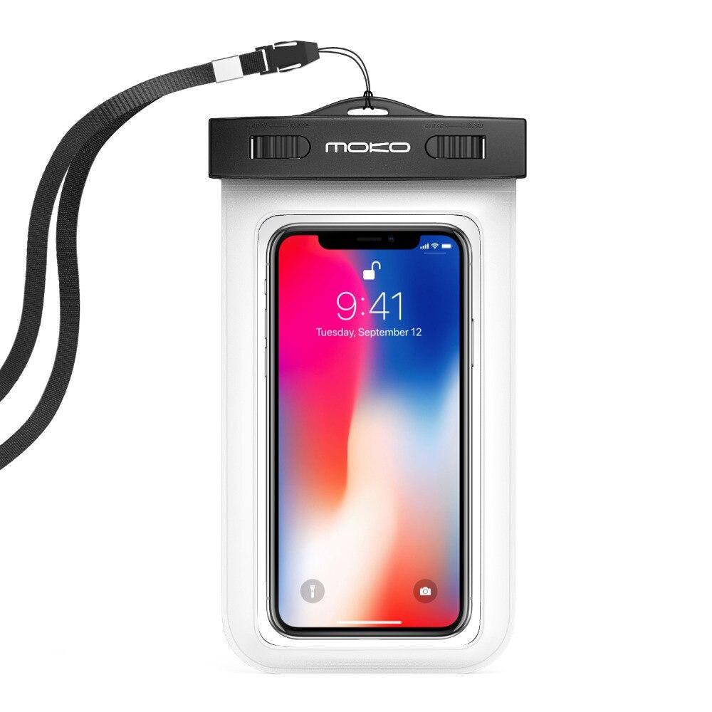 Caja impermeable Universal del teléfono, moKo multifunción teléfono móvil bolsa seca con brazalete característica y correa de cuello para el iPhone X/8 más
