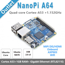 NanoPi A64 Allwinner A64,64 Bit High-performance,Quad-Core A53 Demo Board, Running UbuntuCore & Ubuntu MATE