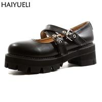 Women Platform Shoes Fashion Womens Black PU Leather Harajuku Shoes Cross Buckle Punk Shoes Ladies Vintage Shoes
