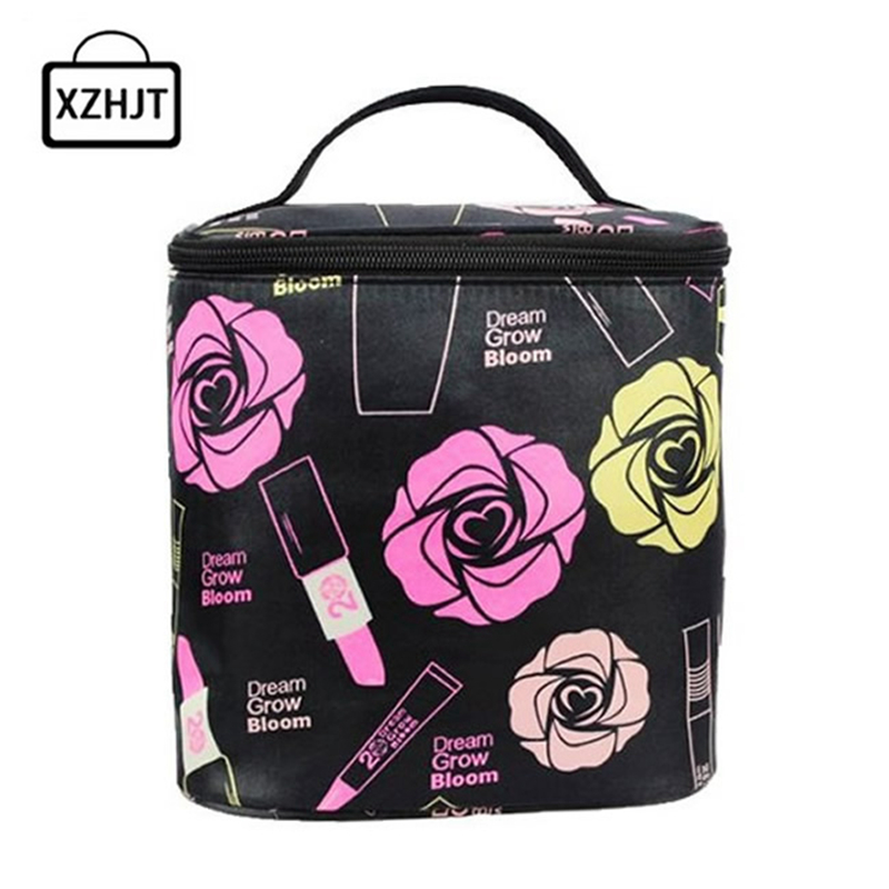Fashion Women Roses Floral Cosmetic Bag Large Travel Lady Makeup Bag Toiletry Bag Organizer Makeup Cases Trousse Maquillage купить