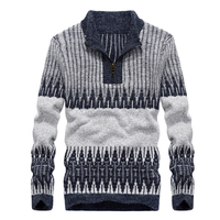 Autumn Winter Sweater Men Pullover Men Half Turtleneck Zipper Men S Sweater Cotton Warm Patchwork Slim