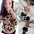 2017 baby girl boy suéteres mujeres cardigan pullover leopard juego mirada familia madre e hija de ropa trajes